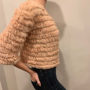 BCBG Max Azria Light Pink Fur Cropped Jacket